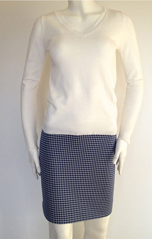 Blue Check Pencil Skirt