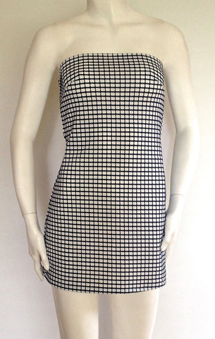 Navy Checked Halter Dress