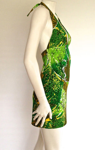 Green Tiki Halter Dress