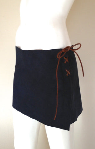 Midnight Navy Suede Skirt