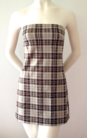 Brown Plaid Mini Dress