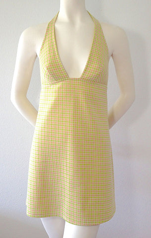 Peach and Lime Halter Dress