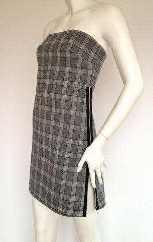 Grey Plaid Zipper Dress