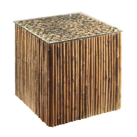 Padma's Plantation Bamboo Stick Bunching Table Base With Glass
