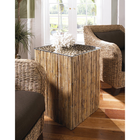 Padma's Plantation Bamboo Stick Side Table Base With Glass