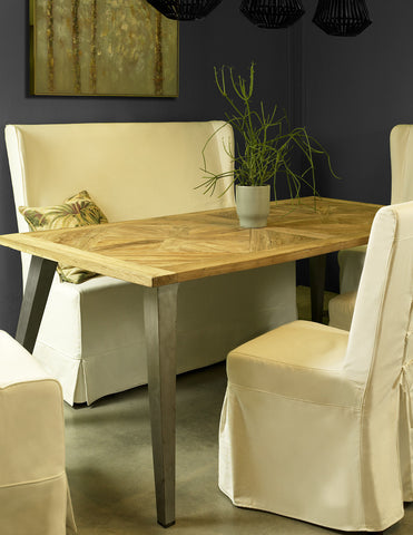 CALIFORNIA RECYCLED MOSAIC TEAK DINING TABLE