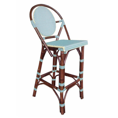 Padma's Plantation Paris Bistro Bar Stool - Blue Indoor or Outdoor