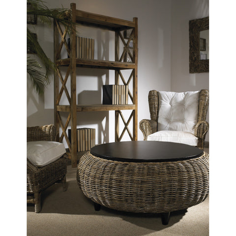 Padma's Plantation Paradise Ottoman - kubu - with Wood Top