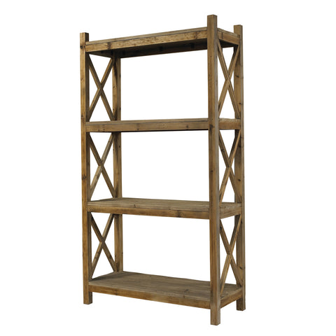 Padma's Plantation Salvaged Wood Cross Rack Book Case