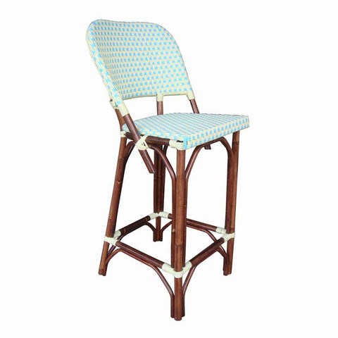 Padma's Plantation VERANDA BISTRO BARSTOOL - BLUE-YELLOW  Indoor or Outdoor