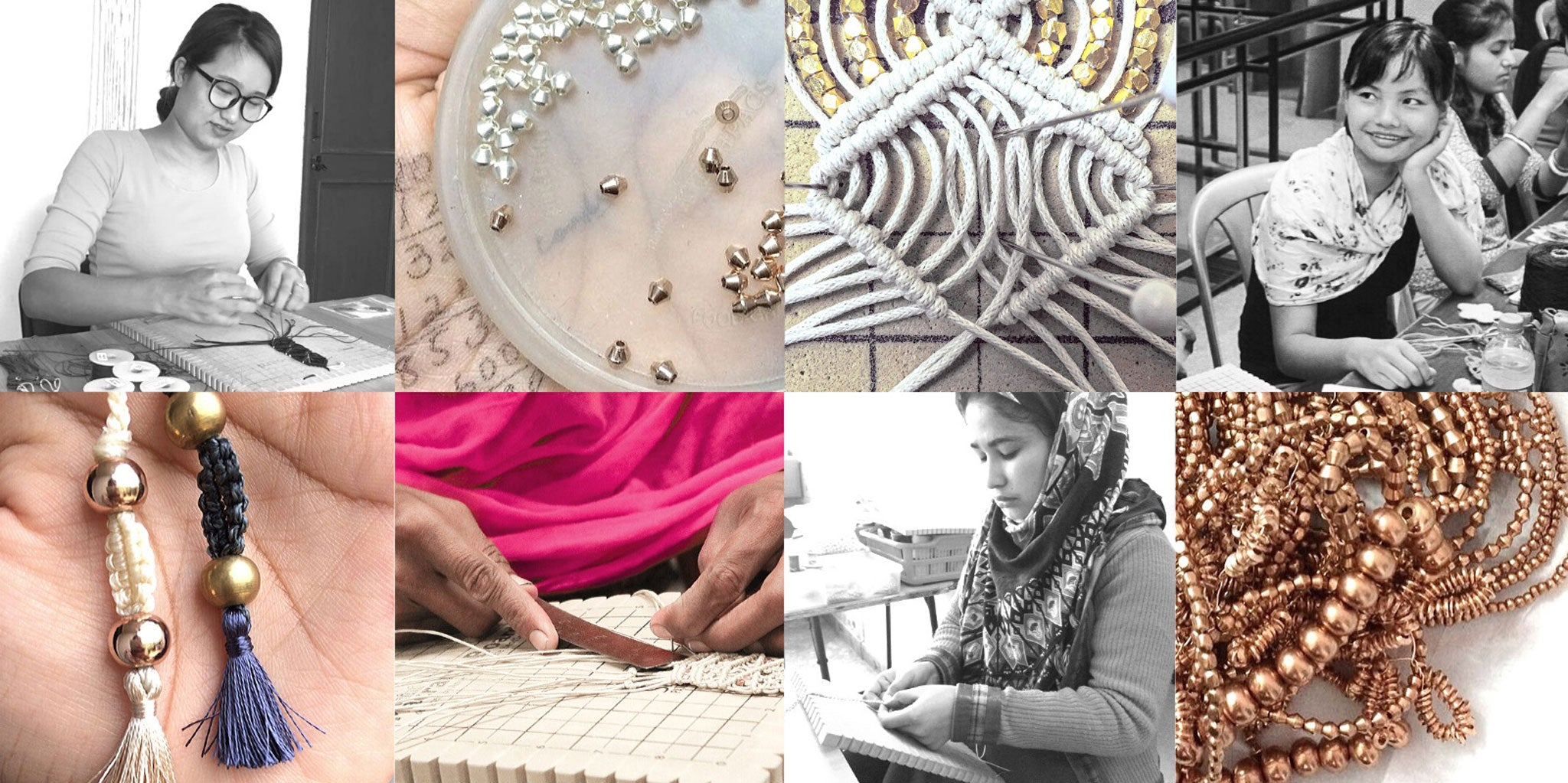 CORDA India team of artisan women. Process and Materials images of Corda Macrame and Silk Tassel Jewelry. Rose Gold, Silver and Beads.