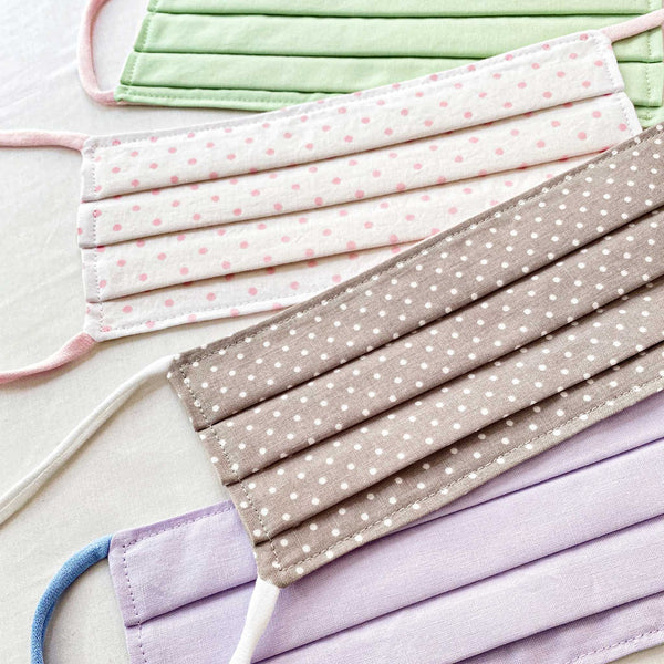 BUY Corda 2-Ply Cotton Cloth Face Masks. Handmade with Love. Polka dots and Solids.