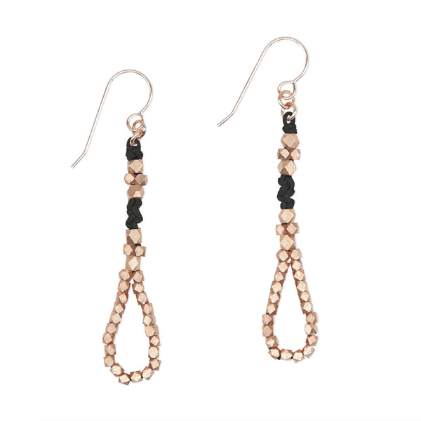 Black and Brass Knotted Tear Drop Earrings by CORDA