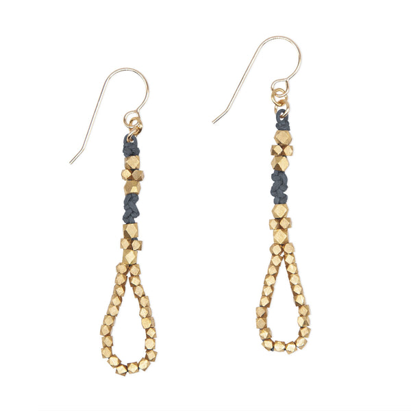 Denim and Brass Knotted Tear Drop Earrings by CORDA