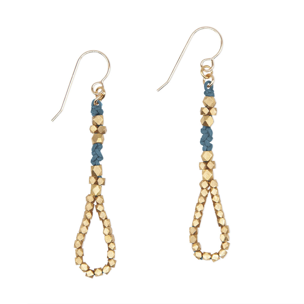 Indigo and Silver Knotted Tear Drop Earrings by CORDA