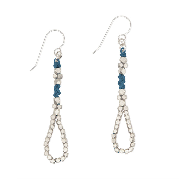 Indigo and Brass Knotted Tear Drop Earrings by CORDA