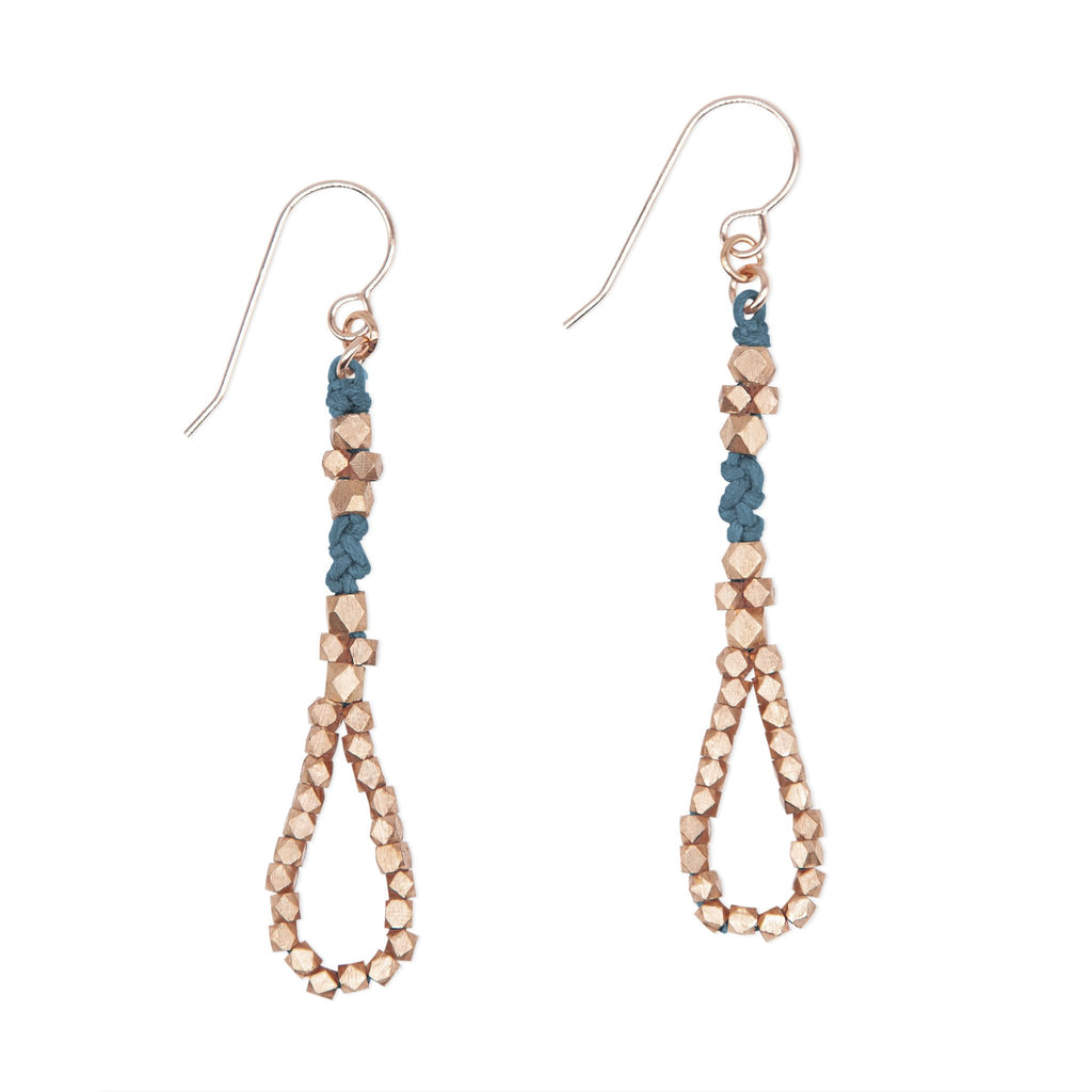 Indigo and Rose Gold Knotted Tear Drop Earrings by CORDA