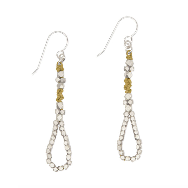 Ochre and Brass Knotted Tear Drop Earrings by CORDA
