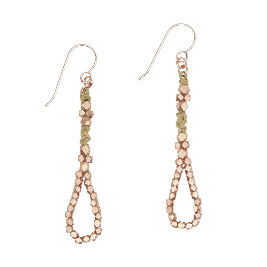 Ochre and Rose Gold Knotted Tear Drop Earrings by CORDA