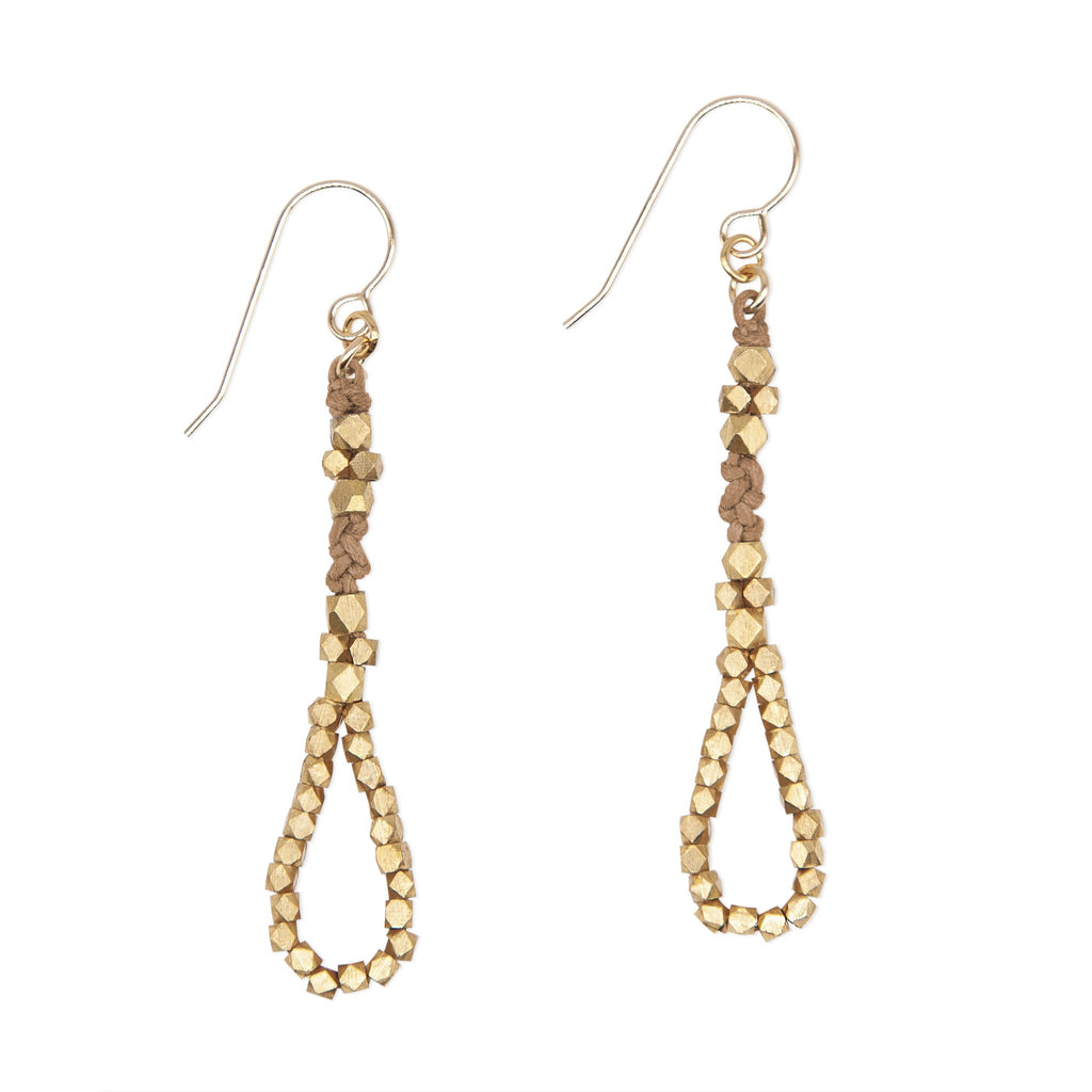 Sienna and Silver Knotted Tear Drop Earrings by CORDA