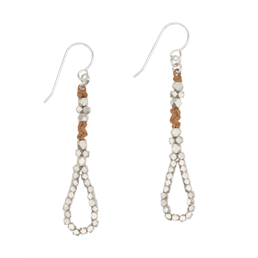 Sienna and Rose Gold Knotted Tear Drop Earrings by CORDA
