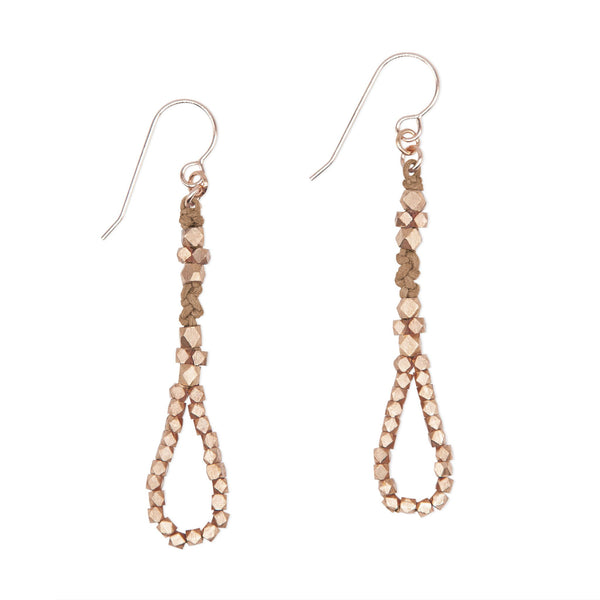 Sienna and Brass Knotted Tear Drop Earrings by CORDA