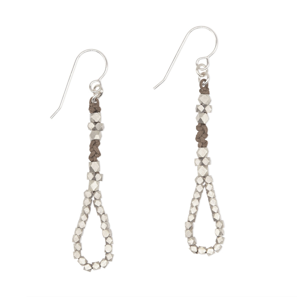 Stone and Rose Gold Knotted Tear Drop Earrings by CORDA