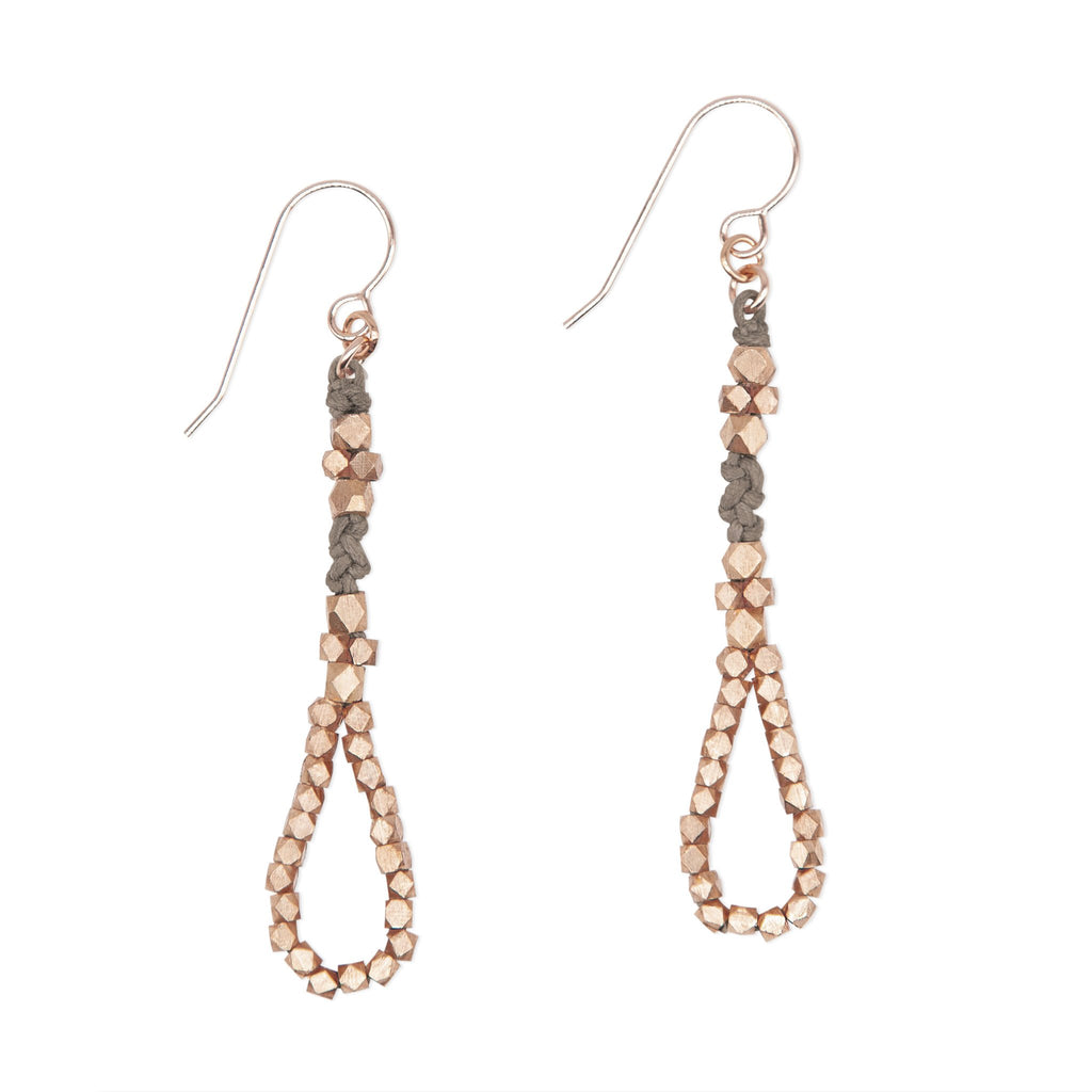 Stone and Brass Knotted Tear Drop Earrings by CORDA