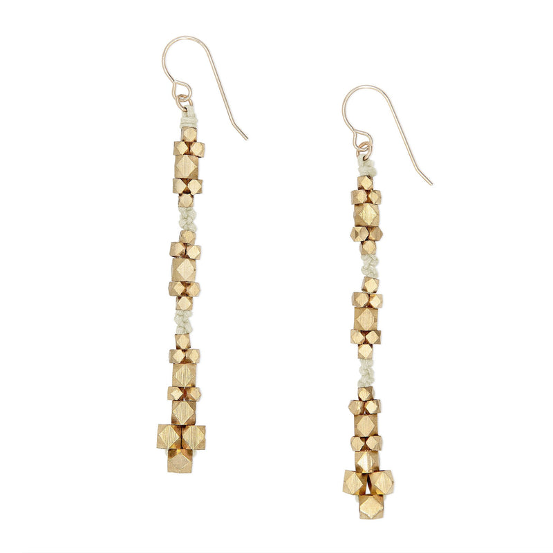 Ariadne Knotted Nugget Earrings • Brass