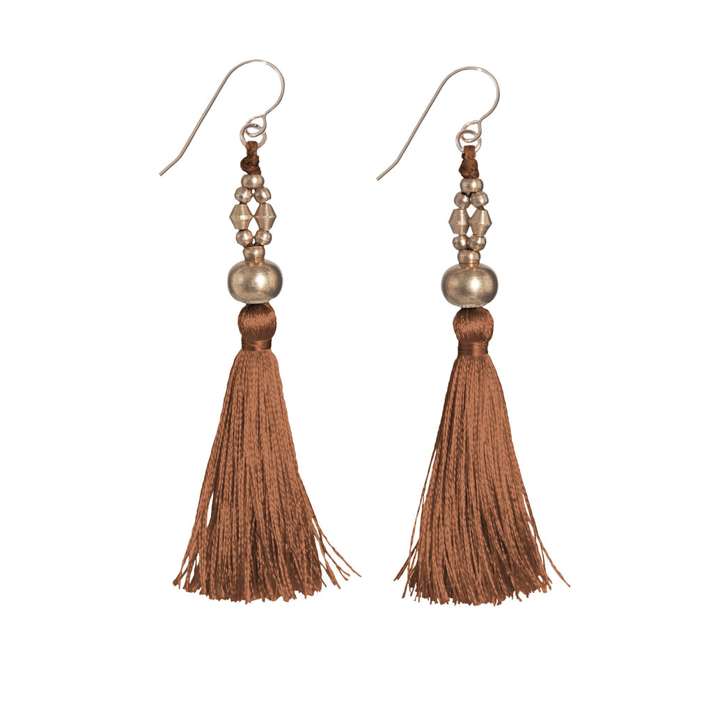 Bhaskari Silk Tassel Earrings • Auburn