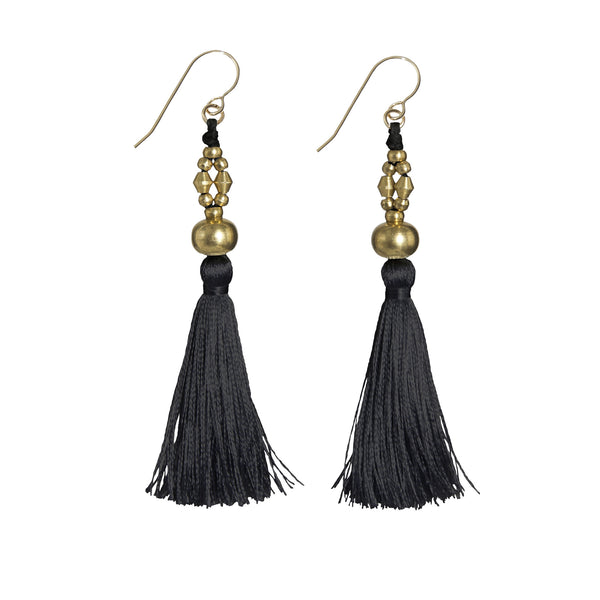 Bhaskari Silk Tassel Earrings • Black