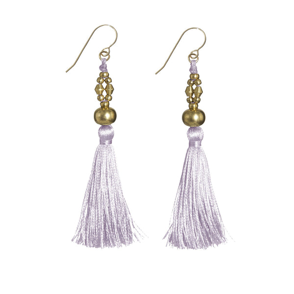 Bhaskari Silk Tassel Earrings • Lavender