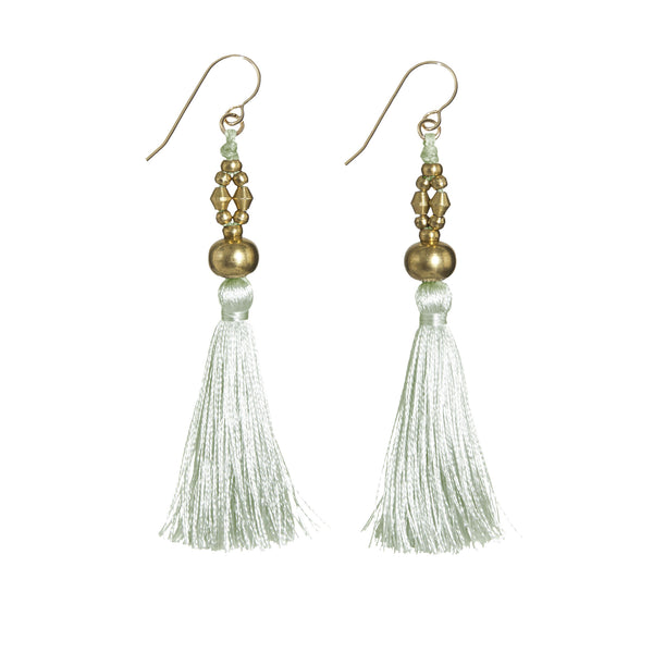 Bhaskari Silk Tassel Earrings • Moss