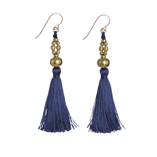 Bhaskari Silk Tassel Earrings • Navy