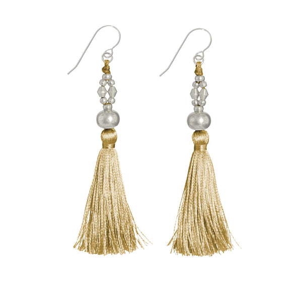 Bhaskari Silk Tassel Earrings • Ochre
