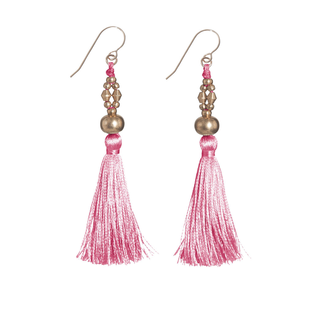 Bhaskari Silk Tassel Earrings • Pink