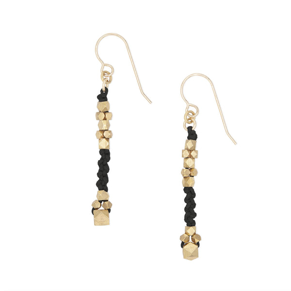 Corda Bia Knotted Nugget Drop Earrings in Black and Brass