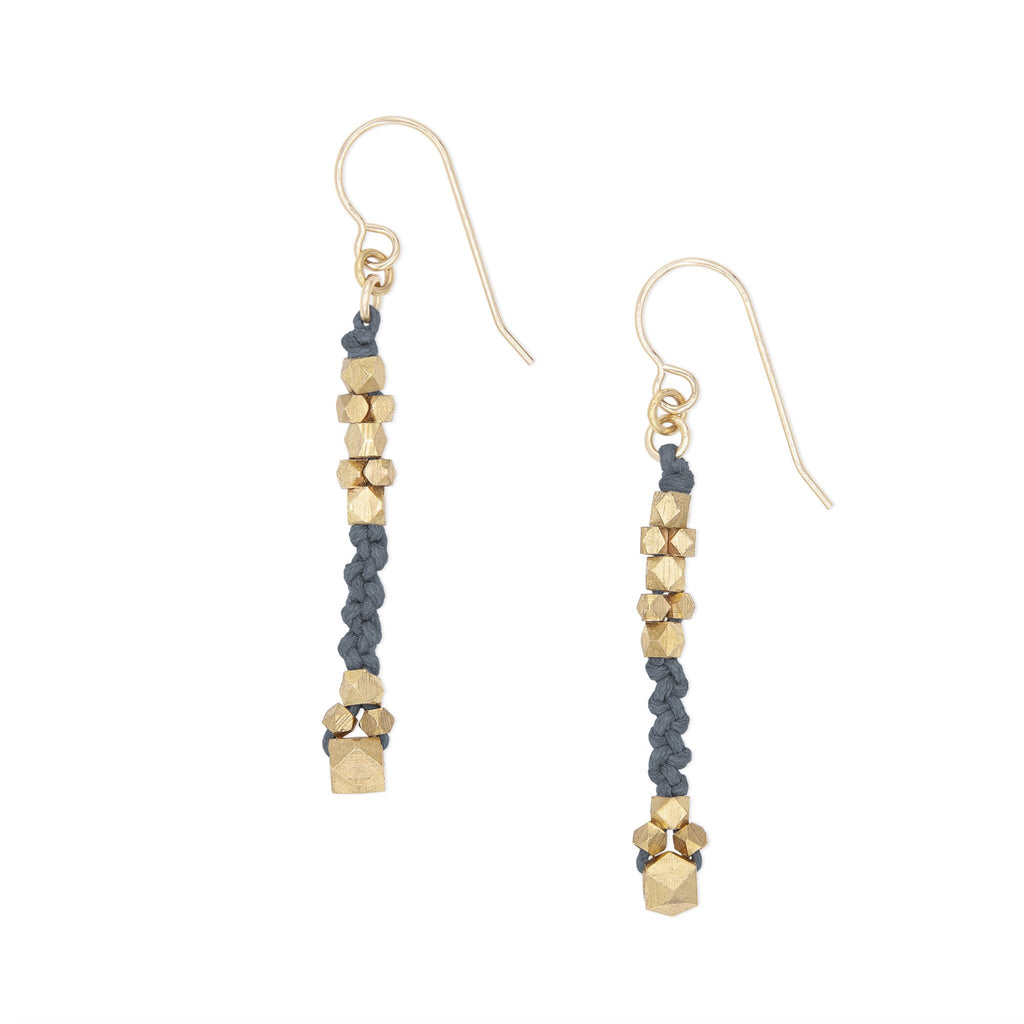 Corda Bia Knotted Nugget Drop Earrings in Denim and Brass