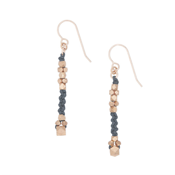 Corda Bia Knotted Nugget Drop Earrings in Denim and Rose Gold