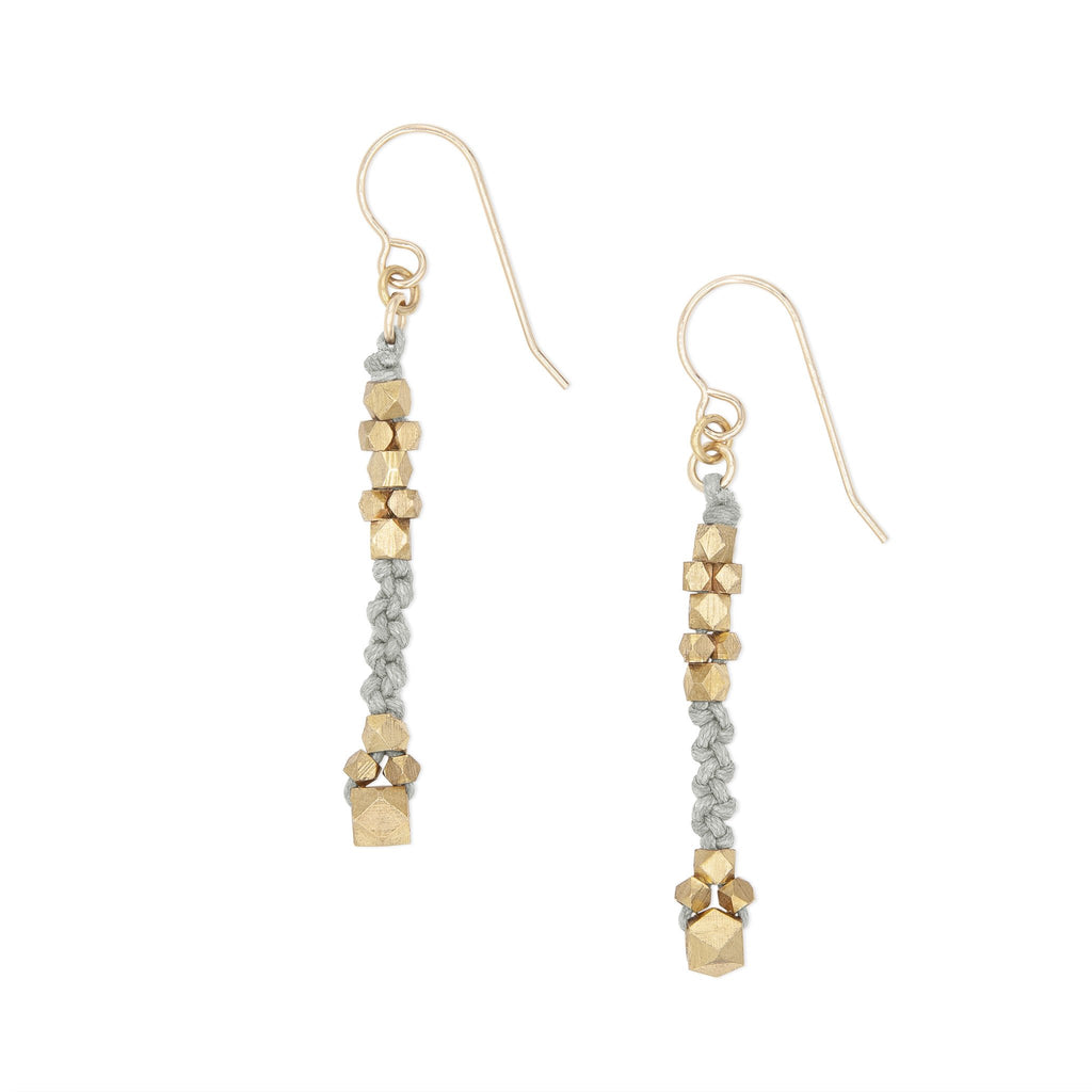 Corda Bia Knotted Nugget Drop Earrings in Gray and Brass
