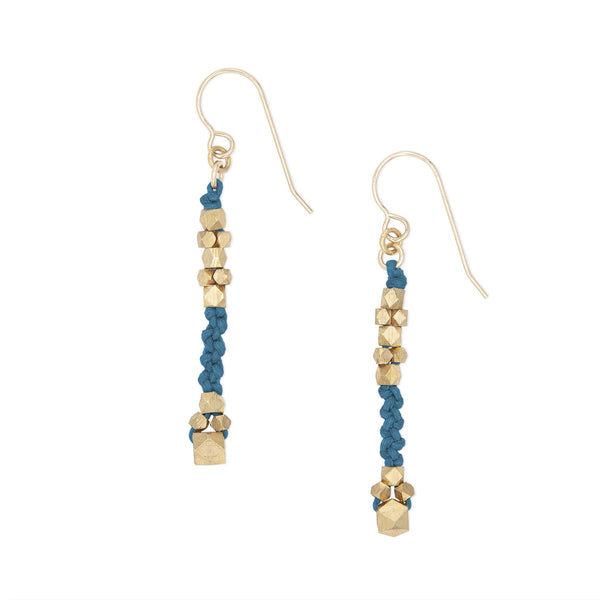 Corda Bia Knotted Nugget Drop Earrings in Indigo and Brass