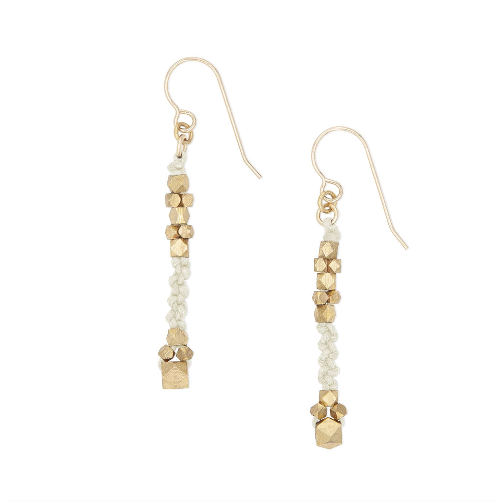 Corda Bia Knotted Nugget Drop Earrings in Ivory and Brass