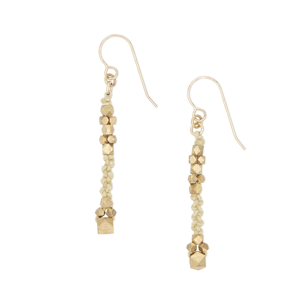 Corda Bia Knotted Nugget Drop Earrings in Natural and Brass