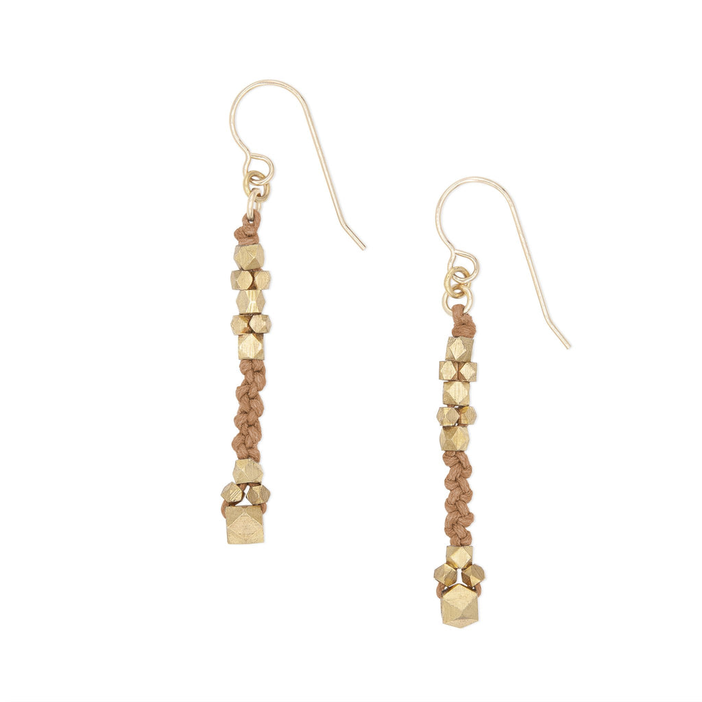 Corda Bia Knotted Nugget Drop Earrings in Sienna and Brass