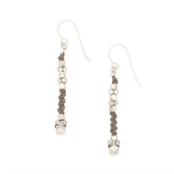 Corda Bia Knotted Nugget Drop Earrings in Stone and Matte Silver