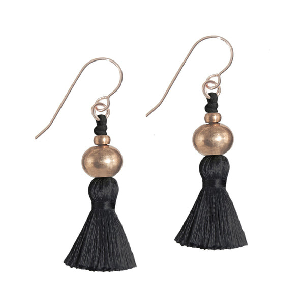Deeta Mini Silk Tassel Earrings • Black