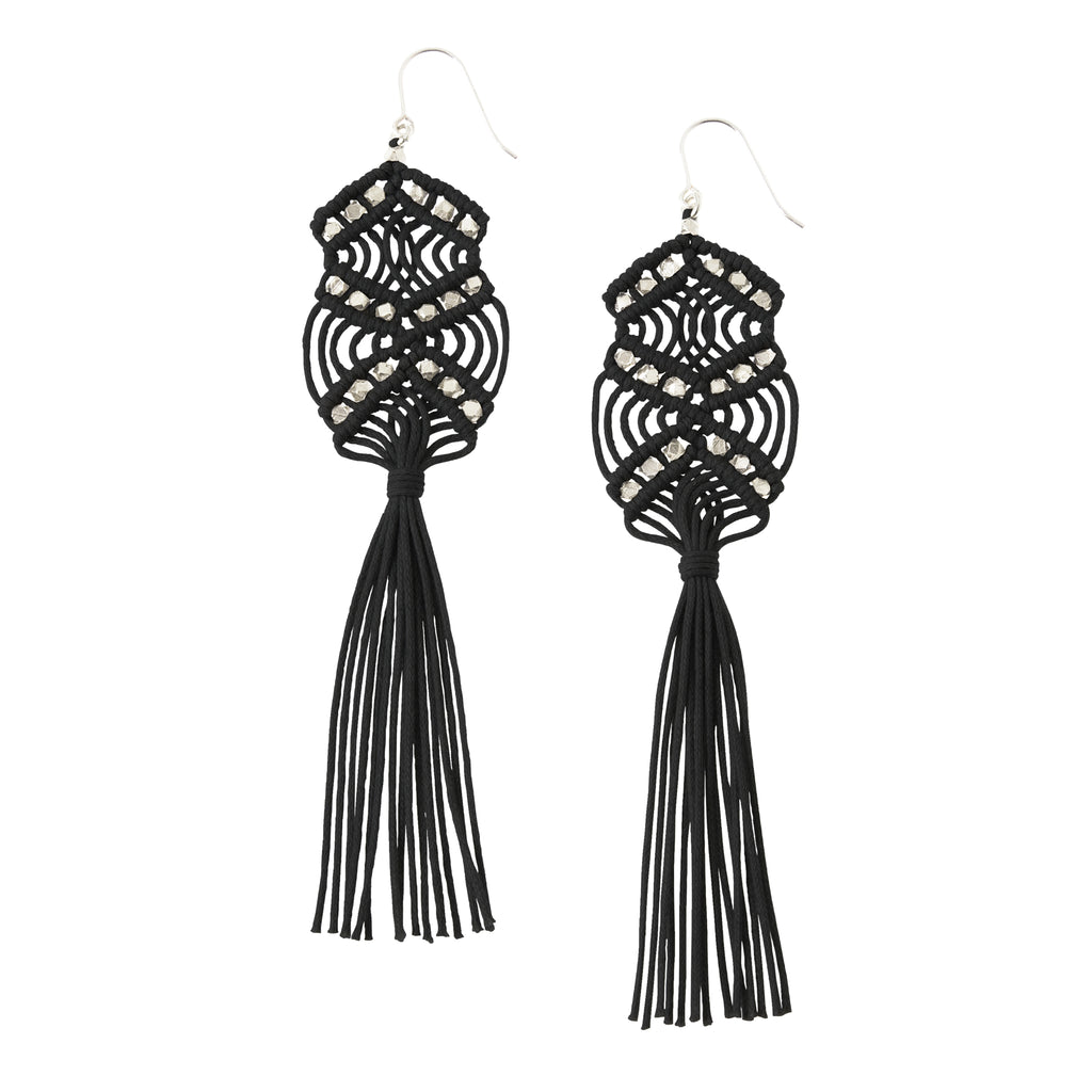 Gaia Tassel Earrings • Black