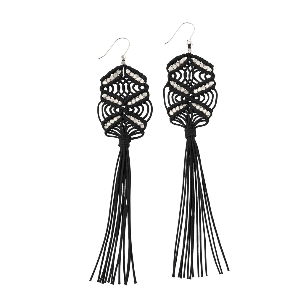 Large Maeve Tassel Earrings • Black