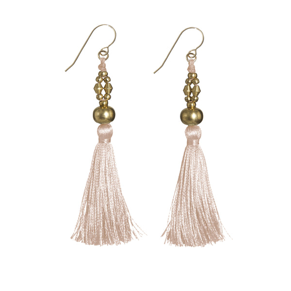 Bhaskari Silk Tassel Earrings • Blush