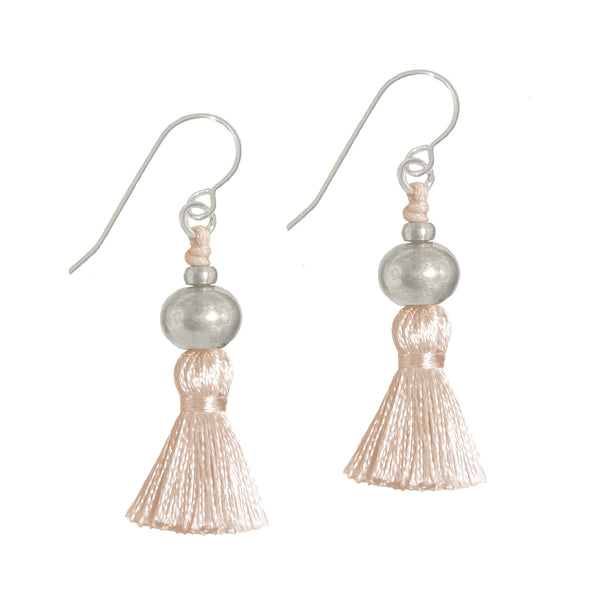 Deeta Mini Silk Tassel Earrings • Blush